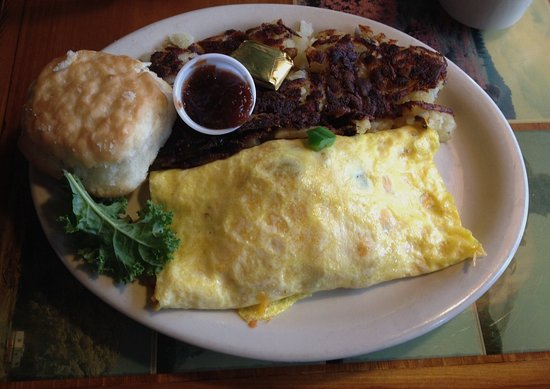 Country Cousin: Western omelette with hasbrowns, biscuit and apple butter