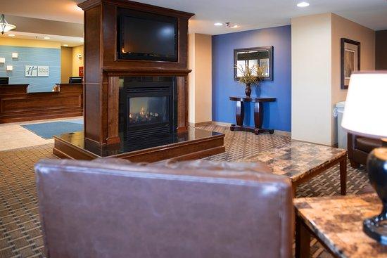Devils Lake, ND: Lobby w/Fireplace