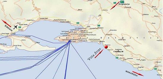 Podstrana, Kroatië: Map