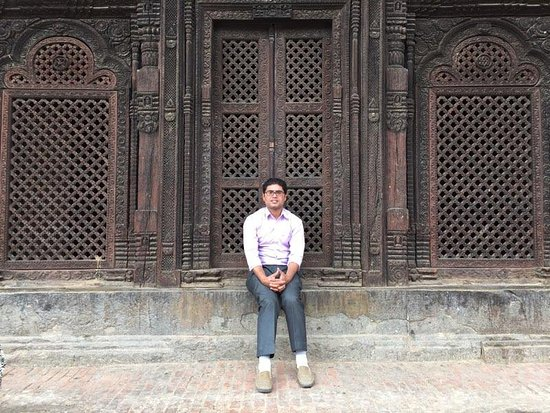 Bhaktapur, Nepal: In front of the heritage