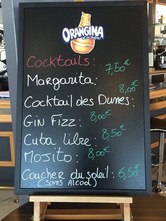 La Faute sur Mer, France: Carte des cocktails