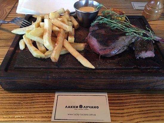 Tenderloin steak with fries