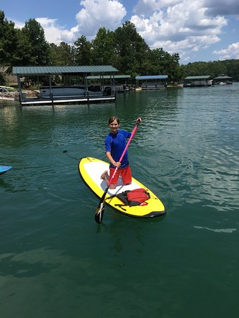 Westminster, Carolina Selatan: My 13 year old...trying the paddle board for the first time.