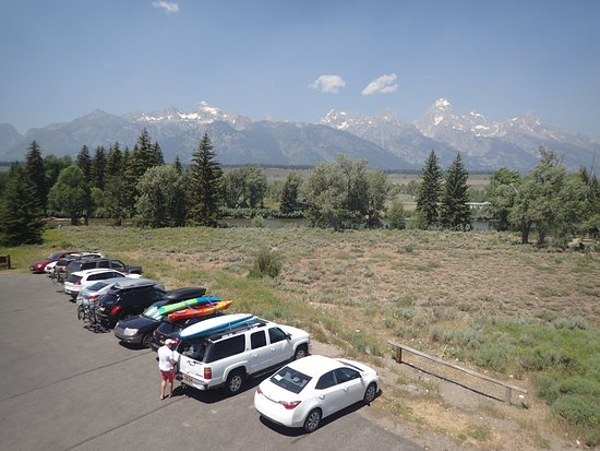Moose, WY: View of parking, the Snake River and the Tetons