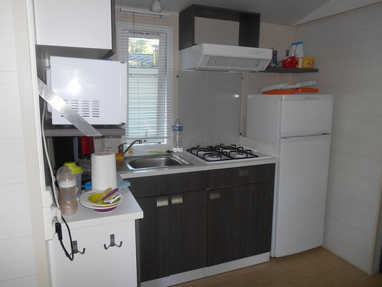 Espace cuisine, avec un grand frigo : rare dans un mobil-home ...