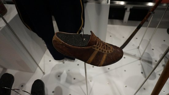 Olympic Museum Lausanne (Musee Olympique): 100meters shoe back in the day