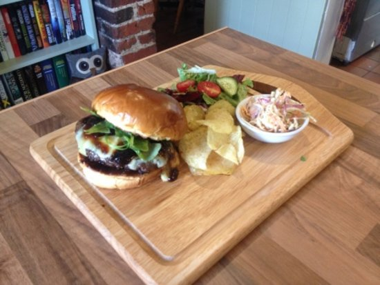 Halstead, UK : Venison Burger with Stilton and Homemade Plum & Liqourice Chutney