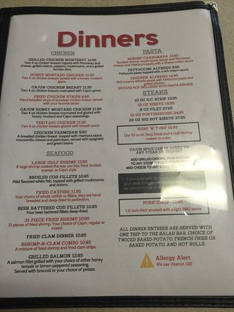 Louisiana, มิสซูรี่: Menu & Tj pizza are here. Very very good eatery