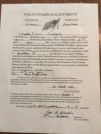 Greenbush, WI: Army volunteer form.
