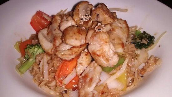 Port Hardy, Canada: Summer special; stirfried noodles or rice with candied salmon and veggies. Top with chicken, bee