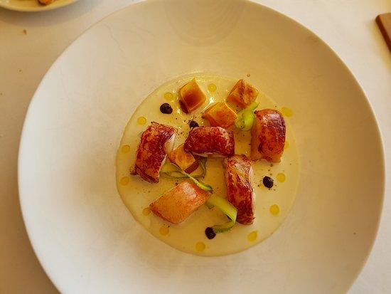 Poio, إسبانيا: Bogavante con pollo y sopa de ajo blanco