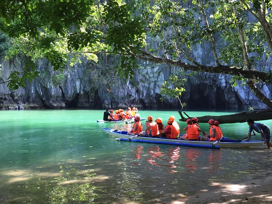 Puerto Princesa Underground River: These are the canoes that you go in... and you can see that opening in the rock - that is the ca