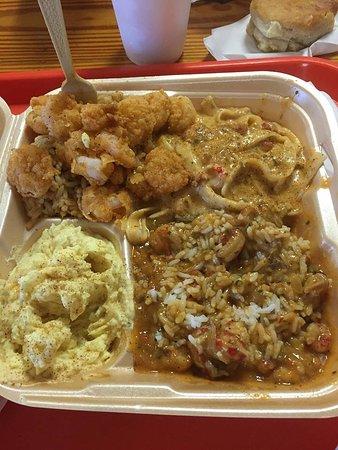 Poche Market & Restaurant: Seafood combo with Shrimp, Crawfish Fettucini, Crawfish Ettoufe', (sides: Crawfish Dressing, Pot