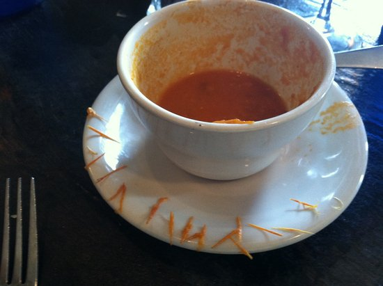 Pharmacy: Charred tomato soup with some sort of pithy substance.