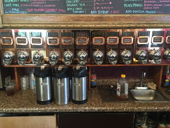 Cedarburg, WI: Whole bean coffees to choose from.