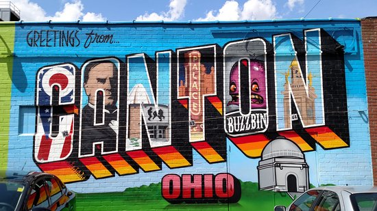 VIntage postcard style mural in Canton Arts District alley
