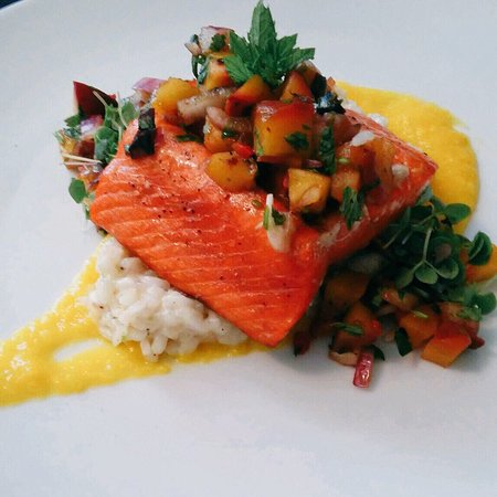 Lake Oswego, OR: Beautiful fresh copper river salmon w/creamy coconut risotto, mango puree, and grilled peach sal