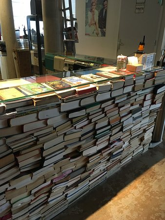 Reception Desk Made Of Books So Cool Walkie Talkies For
