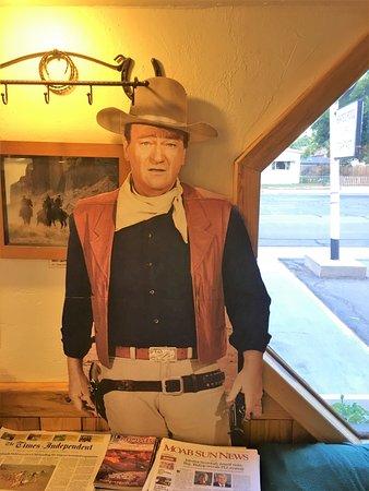 Apache Motel: John Wayne slept here and still presides over the breakfast/office area.