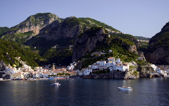 Day Tour in Italy: Early morning as our cruise ship approaches Amalfi