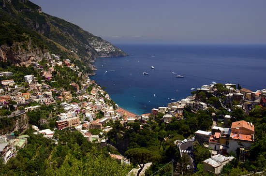 Day Tour in Italy: The view from our luncheon cafe high above Positano on the Amalfi Coast