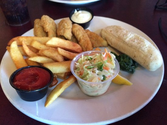 Bay City, MI: Perch dinner with coleslaw, steak fries and a dinner roll
