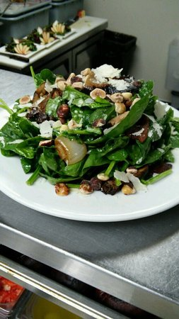 Lake Oswego, OR: Warm Spinach Salad w/grilled onions, bacon, hazelnuts & shaved parmesan