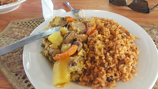 Deadman's Cay, Long Island: curry chicken with beans & rice - so good!