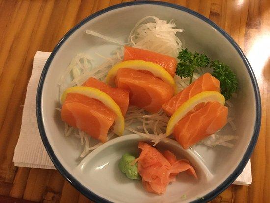 Bethesda, MD: My fav! Scottish salmon sushi appetizer with lemon slices