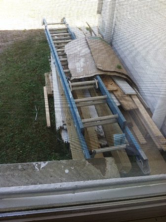 Gilford, NH : Construction debris outside hotel room window