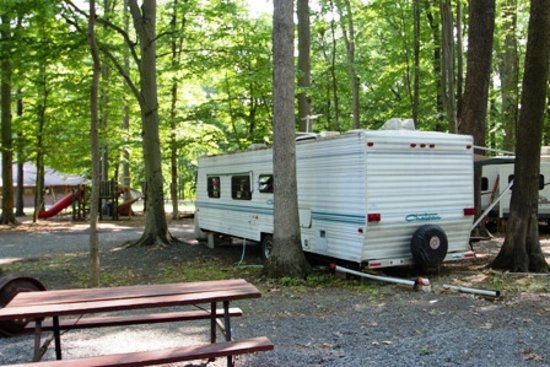 Quakertown, PA: A travel trailer in a space in back of ours.