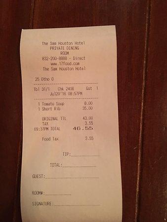 17 at Alden-Houston: Bill for 1pax