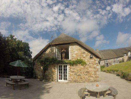 Okehampton, UK: View of back of Inn showing Doors to Hayloft Suite