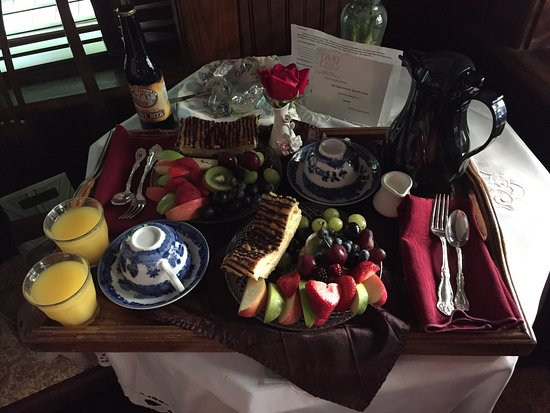 Palace Hotel & Bath House Spa: Breakfast delivered to room included in room rate...carafe of coffee, milk, oj, LOTS of fresh fr