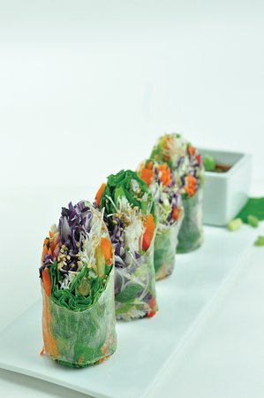 Oak Bluffs, MA: Chef's Summer Rolls loaded with locally grown ingredients