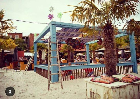 Mortsel, België: The beach bar en tuinterras