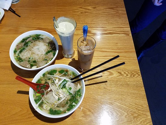 Mechanicsburg, PA: Bowl of chicken and beef pho, avocado smoothie and vietnamese coffee.