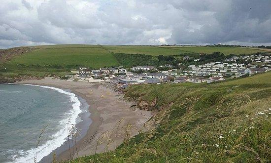 Bigbury-on-Sea, UK: View of Challaborough Bay Holiday Park and Beach From Bigbury Hill