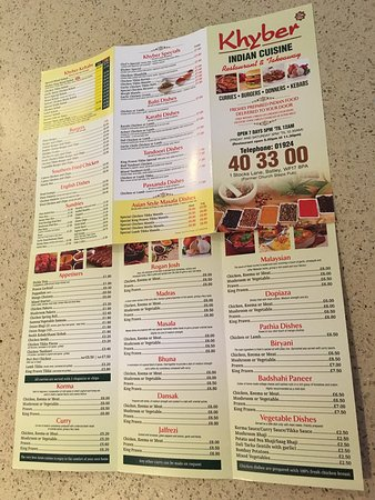 Khyber Restaurant Batley Menu