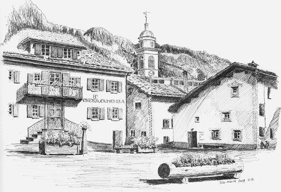 Sils im Engadin, Zwitserland: Tuschzeichnung des Bewerters vom Dorfplatz mit dem Gemeindehaus, links davon steht das Hotel.