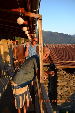 Saint Michel de Maurienne, France : Relaxing on porch before dinner