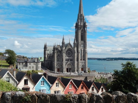 Looking at St Colman's Cathedral in Cobh, Ireland.