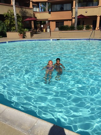 Handlery Hotel San Diego : kids enjoying the pool -early morning