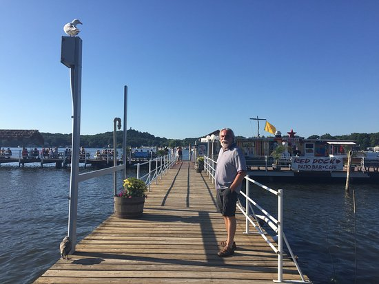 Saugatuck, MI: Walkway to Red Dock Cafe - seagull agreed to participate :)