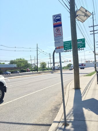 Carlstadt, NJ: Bus stop is five minute walk from hotel.