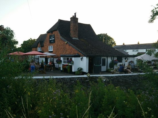 East Peckham, UK: Idyllic English pub sitting upon a river filled with trout.