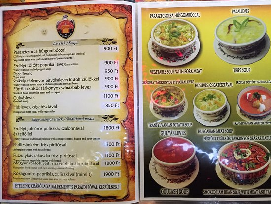 Menu Sample - Picture Of Bujdoso Szekely Vendeglo, Budapest