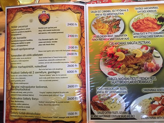 Menu Sample  Picture Of Bujdoso Szekely Vendeglo Budapest