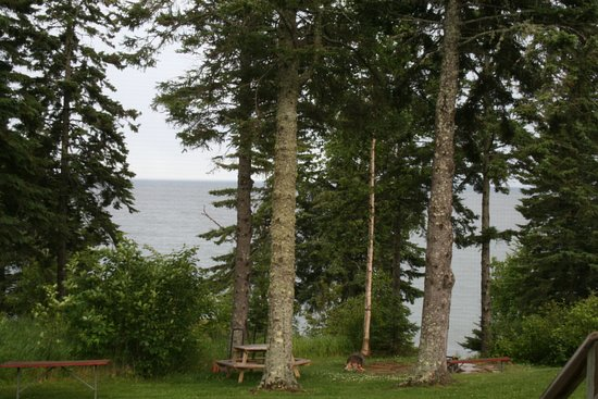 Lutsen, MN: View of Lake Superior from motel unit deck.