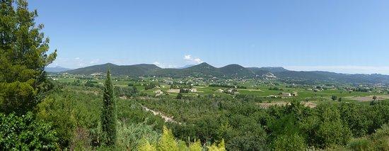 Vedene, France: Vue sur le Ventoux, Séguret et les vignobles.